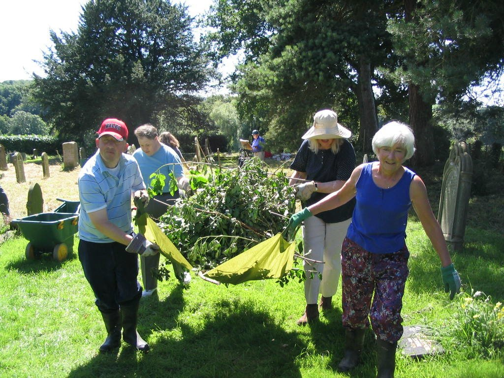 Churchyard Task Team working at Hatfield, Herefordshire